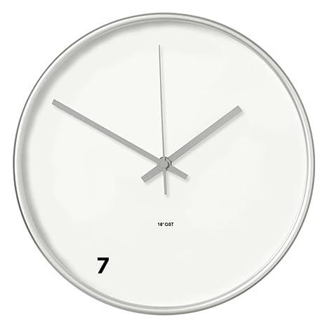 """Design Wanduhr """"7"""" mit Funk für Wohnzimmer, Uhr für Büro oder Küchenuhr,  Ziffernblatt modern, silber, Funkuhr, Glas vom Designer 10° Ost"""