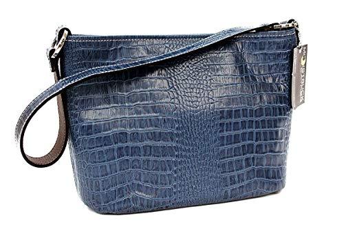 MoonStruck Leather Concealed Carry Purse - CCW Handbags Barcelona Indigo Blue Crocodile - Made in the USA - Classic (Barcelona Handbag)