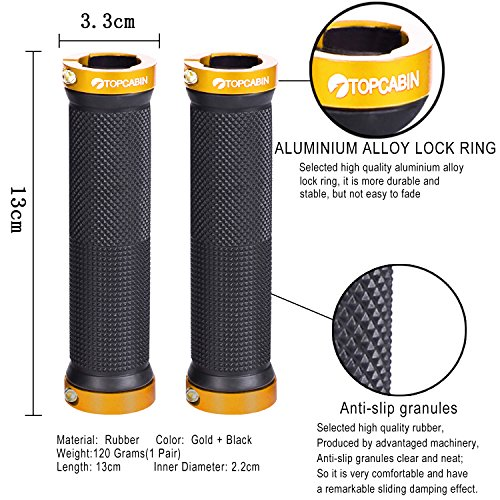 TOPCABIN Bicycle Grips,Double Lock on Locking Bicycle Handlebar Grips Rubber Comfortable Bike Grips for Bicycle Mountain BMX (Gold) by TOPCABIN (Image #1)