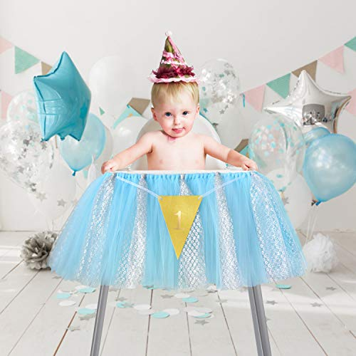 1st Birthday Tutu Skirt for High Chair Decoration Tulle Chair Skirt for Baby Shower Birthday Party Supplies(Blue and Silver) ()