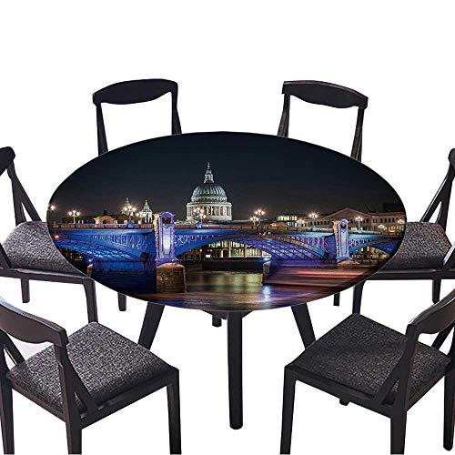 (Round Table Tablecloth St Paul's Cathedral Famous Landmark of London poking Behind Southwark Bridge,London,England. Machine Washable 59