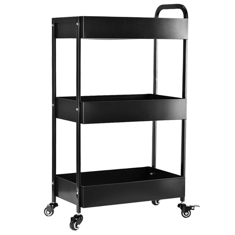 HUO Household Kitchen Storage Rack 3-Layer Storage and Finishing Cart Rack (Color : Coffee)