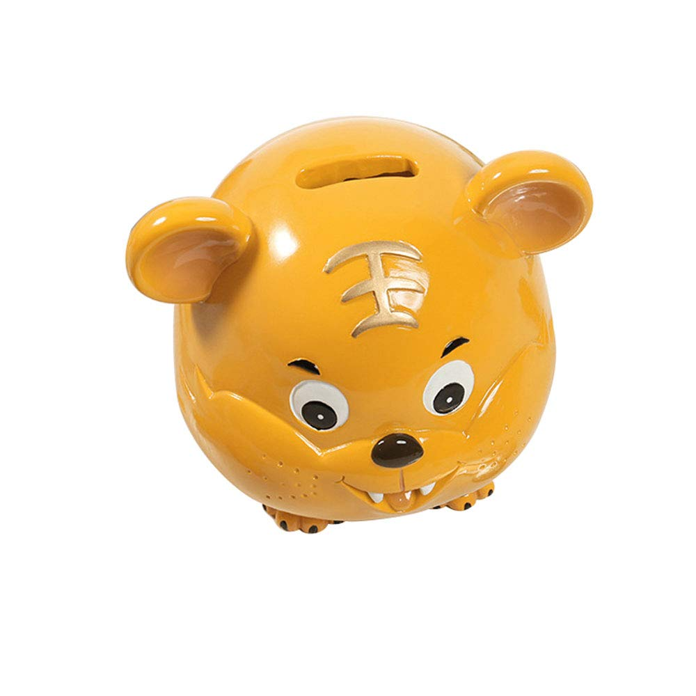 ADbank Resinic Piggy Bank Coin Storage, Large Money Box Tiger Gifts for Children Friends, Also Ornaments for Room Decorations,Yellow by ADbank
