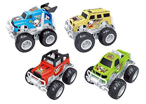 Liberty Imports Big Wheel 4x4 Friction Vehicles for Monster Trucks Stunt Stadium (4-Pack)