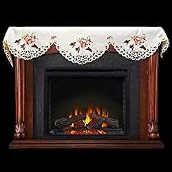 "19"" X 90"" Wide Fireplace Mantel Scarf with Hummingbird and Hibiscus Flowers from Linens, Art and Things"