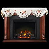 Linens, Art and Things Emboidered Fireplace Mantel Scarf with Hummingbird and Hibiscus Flowers 19'' x 90''