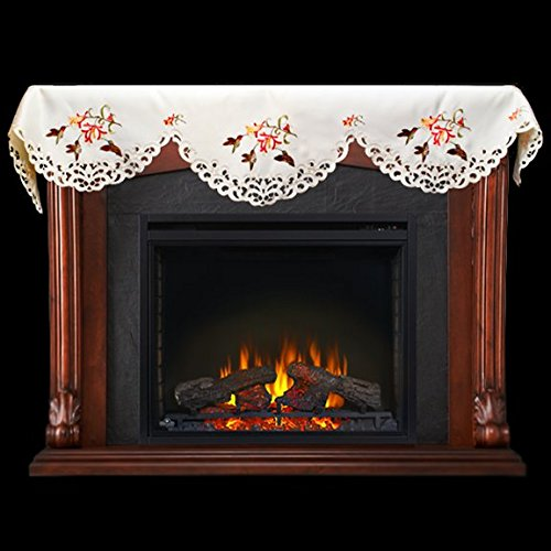 Emboidered Fireplace Mantel Scarf with Hummingbird and Hibiscus Flowers 19
