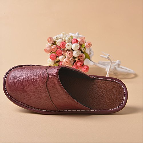 Spring Wooden Slippers Smelly Anti Men for Women Noir Cowhide Summer Leather TELLW Autumn Floor Corium qFBAwRU