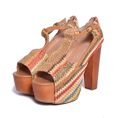 JEFFREY CAMPBELL Foxy Wood Brown Red Coffee Weave