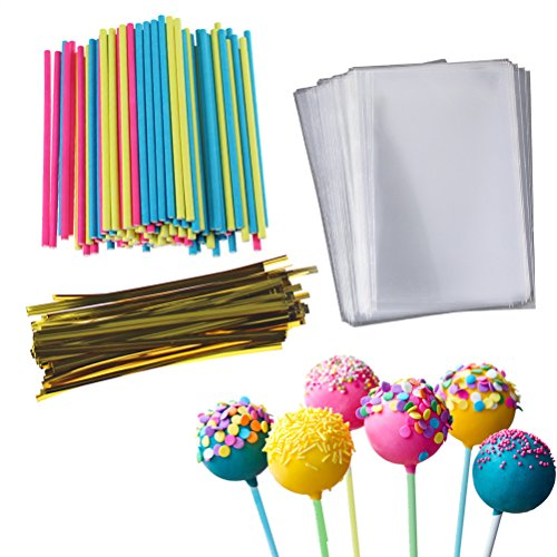 Cake Pop Treat Bag Set, 100 PCS Colorful Lollipop Sticks, 100 PCS Lollipop Parcel Bags with 100 PCS Metallic Twist -