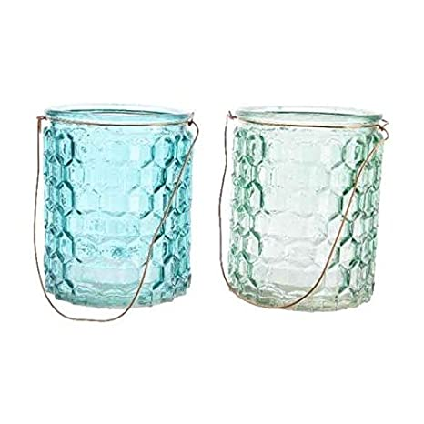 Glass Tea Light Votive Candle Holders Wedding Table Decorations Centrepiece Settings Vintage Shabby Chic Embossed Hanging Tealight Holder Indoor Outdoor Garden