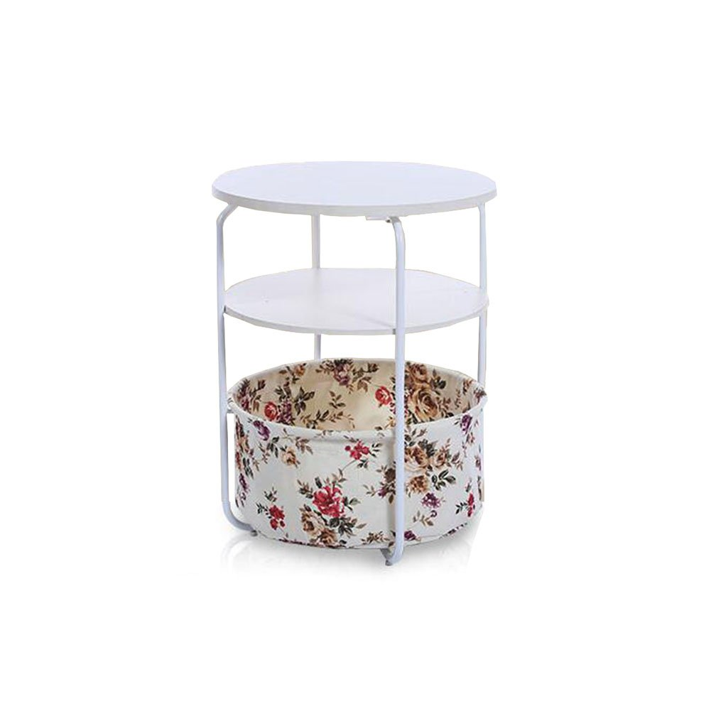T7 CJC Desk Side End Table 2 Tier 3 Tier Round Square Storage Basket Nightstand Espresso Bedrooms Living Room (color   T6)