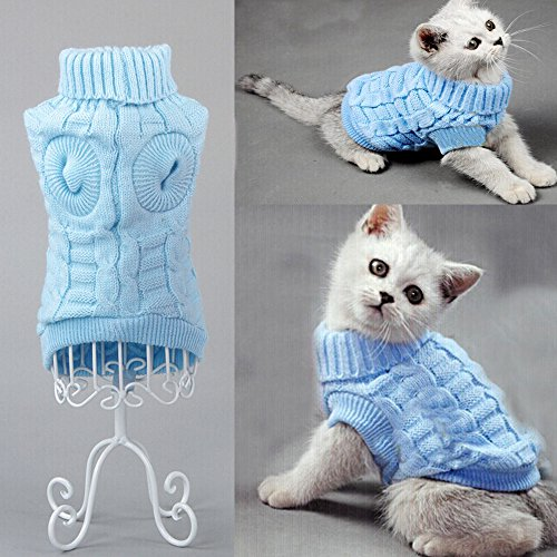 Bro'Bear Cable Knit Turtleneck Sweater for Small Dogs & Cats Knitwear (Blue, X-Large)