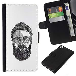 All Phone Most Case / Oferta Especial Cáscara Funda de cuero Monedero Cubierta de proteccion Caso / Wallet Case for HTC Desire 820 // Glasses Art Painting Beard Hipster