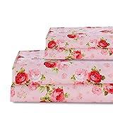Rose Floral Sheet Set Queen Size Plaid Rose Sheets Deep Pocket Bed Sheets Flat Sheet& Fitted Sheet& Pillowcases 100% Microfiber 4PCS Pink Queen