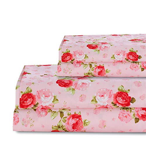 Bedlifes Red Rose Floral Sheet Set King Size Deep Pocket Bed Sheets Flat Sheet& Fitted Sheet& 2×Pillowcase 100% Microfiber 4PCS Pink King