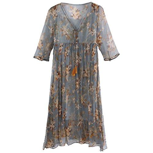 MiGMV Robes Robes Dames de Robe sries Deux Soie Longues des en Femmes vtements Les pour Robes Jupes Fleurs M d't Les Couleur l't rOw0rv