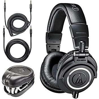14d0b6b7bc9 Audio-Technica ATH-M50x Professional Monitor Headphones + Slappa Full Sized  HardBody PRO Headphone Case (SL-HP-07)