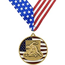"""Decade Awards Gold Patriotic Wrestling Medal - 2.75"""" wide Strong Metal - Comes with Exclusive Stars & Stripes American Flag V Neck Ribbon"""