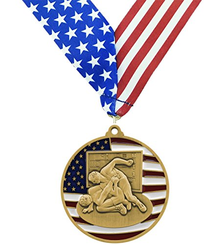 Gold Patriotic Wrestling Medal - 2.75