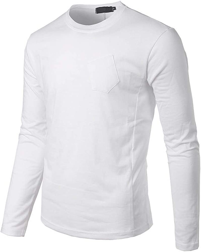 Fhuiml Mens Cotton Blend Casual Long Sleeve Lightweight Oblique Pocket T-Shirts