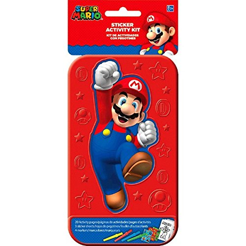 Super Mario Brothers Sticker Activity Kit | Party Favor | 1 Plastic Case with 20 Activity Pages and 4 Markers ()