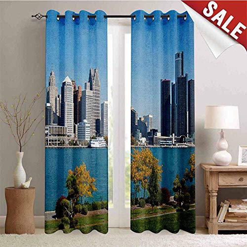 Detroit Gromets Curtain Decoration Drapes for Girls Room, Industrial City Center Shoreline River Scenic Panoramic View in a Sunny Day Party Darkening Curtains, Blue Green Silver, W96 x L84 -