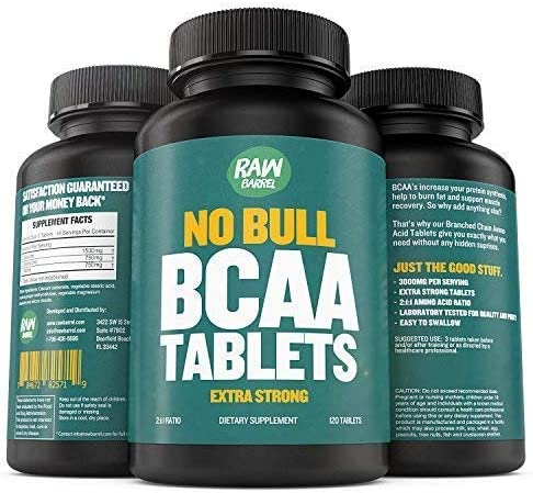 BCAA Tablets – 120 Pills, Extra Strong 1000mg Per Tablet – 2 1 1 Branched Chain Amino Acid Ratio Supplement – Non-GMO Natural Ingredients – by Raw Barrel