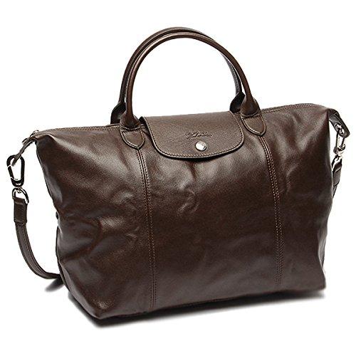 Longchamp Le Pliage Cuir Handbag, Moka, - Tote Embossed Longchamp