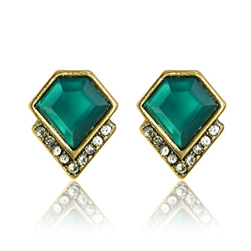Lares Domi Vintage Gold-tone Stud Earrings Crystal Incrusted Simulated Emerald Inlay Classic Art Deco Elegant Emerald Green & Silver Gift For Lady Women Girls (W0.9cm,L1.2cm)