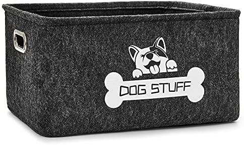 Thankspaw Dog Toy Basket, Pet Supplies Storage Basketwith Metal Handle, Collapsible Pet Storage Collection for Organizing Dog Cat Toys