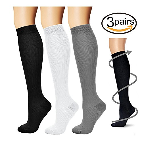 Compression Socks,(3 pairs) Compression Sock for Women & Men - Best For Running, Athletic Sports, Crossfit, Flight Travel - Suits Nurses, Maternity Pregnancy, Shin Splints - Below Knee High (Compression Stockings)
