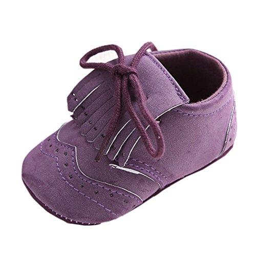 etrack-online Baby Boys Deportes zapatillas Prewalker Cuna cordones zapatos de Babe gris gris Talla:6-12 mes Fringed Purple