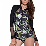 CFR Sexy Women's Rashguard Long Sleeve Zip UV Protection Print Surfing Swimsuit Swimwear Bathing Suits
