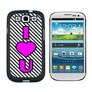 I Love You Big Pink Heart Black Stripes - Snap On Hard Protective Case for Samsung Galaxy S3 - Black by ruishername