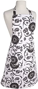 Now Designs Basic Cotton Kitchen Chef's Apron, Annabella White and Black Print