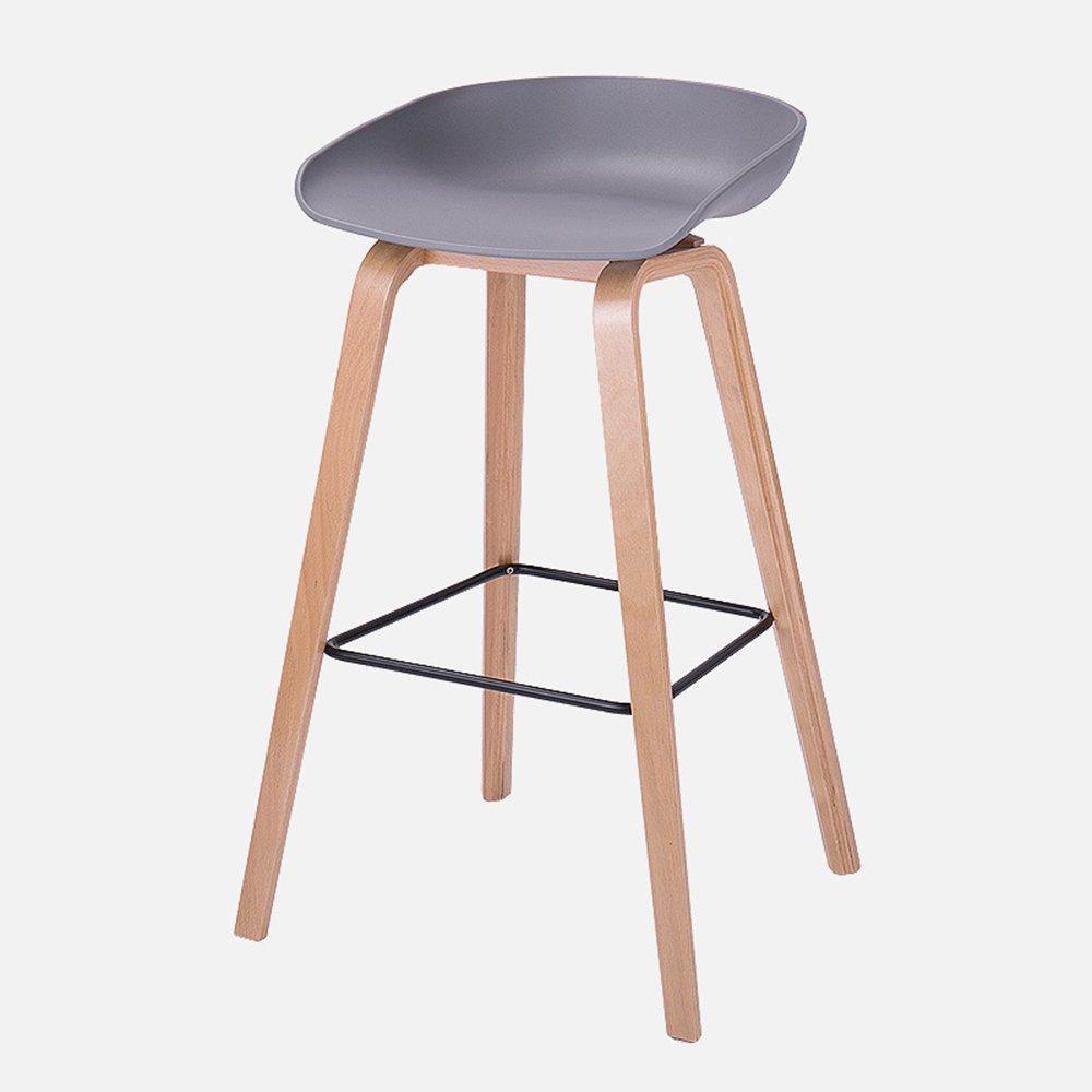XIAOYAN バースツールABS素材+ソリッドウッド現代実用的なオフィスチェアファッション家庭用ハイスツールフロントベンチ黒白グレー (色 : グレー, サイズ さいず : B) B07DNM3P1S B|グレー グレー B