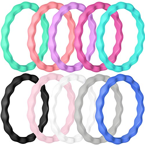Vancle Silicone Wedding Rings Rubber Bands for Men & Women (Women- #Black, Mint Green, Coral Red, Lavender, Rose Red, Pink, White, Gray, Blue, Teal, -
