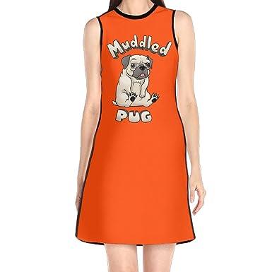 Hakalala Girls Dress Mini Dress, Muddled Pug Orange Spring Prom Cocktail Dress for Girl Woman
