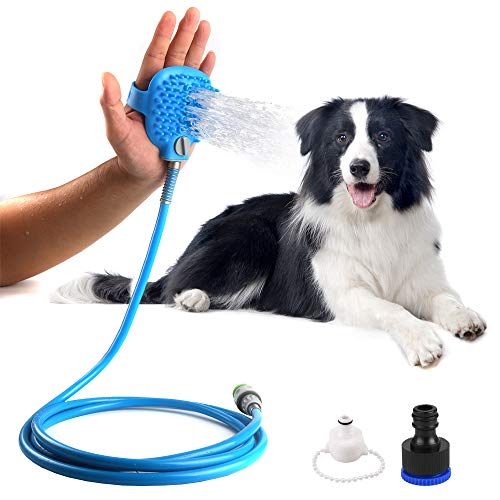 KIPIDA Pet Bathing Tool,Dog Shower Sprayer and Scrubber in-One,Adjustable Handheld Massage with 8.2 ft Hose and 2 Adapter,Dog Grooming Tool Compatible with Outdoor and Indoor-【Blue】