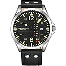 Stuhrling Original Mens Analog Stainless Steel Sport Aviator Watch, Quick-Set Day-Date, Casual Black Leather Strap
