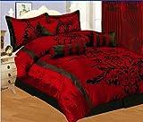 7 PC MODERN Black Burgundy Red Flock Satin COMFORTER SET / BED IN A BAG - KING SIZE BEDDING