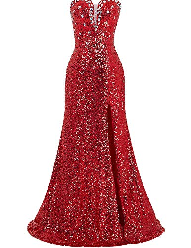 Gorgeous Split Long Formal Evening Dress Sequined Prom Dresses Red Size -