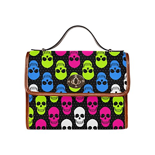 [Sugar Skull Dia De Los Muertos Waterproof Canvas Tote Crossbody Bag Shoulder Messenger Bags] (Jigsaw Costume Face Paint)