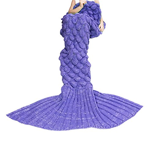 [Knitted Mermaid Tail Blanket Crochet Knit Mermaid Blankets for Adults - All Season Soft Warm Throws and Blankets- Ariel Inspired Sleeping Bags for Kids Teens Women's Day Gift - Sacle] (Ariel Tail Costumes)