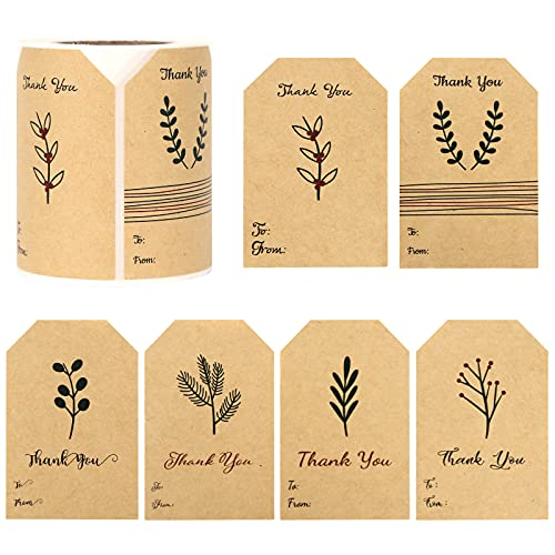 SallyFashion Kraft Sticker Paper Label, 240 PCS Vintage Gift Tags, Thank You Stickers Roll for Holiday Glass Bottle Present Supplies.