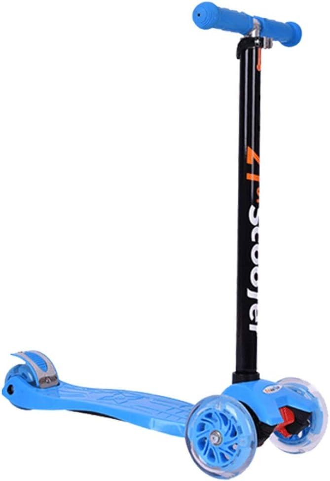KOBOOW Mini Micro Deluxe Patinete 3 Ruedas Scooter para Niños Plegable De Oscilación Reductor para Niños con Freno Manillar Ajustable Carga 80kg 3-8 Años (Color : Blue)