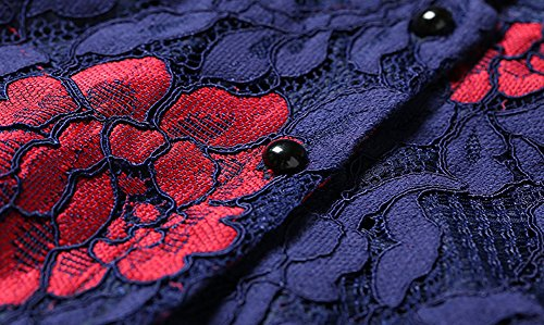 Vestito Da Cava Pizzo Maniche Donne Floreale Blu A Yl95609 Lunghe Di Partito Sera Midi Dissa Cocktail qUxfSW1wyy