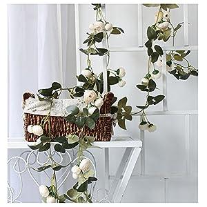 LI HUA CAT Artificial Rose Vine Flowers Plants 10 Heads Silk Fake Rose Flowers 3pcs Lifelike Artificial Flower Home Hotel Office Wedding Party Garden Craft Art Decor (White Camellia)