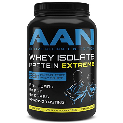 Low White Cake Mix (AAN's Whey Protein Isolate - Fat Free, Low Carb, Post Workout Recovery (2lbs Vanilla Pound Cake))